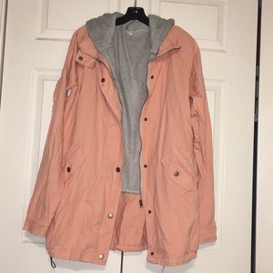 Two Piece Zaful Pink Jean Jacket and Gray Vest Set